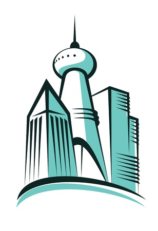 Stylized cartoon illustration of the skyline of a modern city with a tall communications or broadcasting tower topped with an antenna in the centre Vector