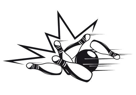 Schwarzweiss-Gekritzelskizze eines Satzes Kegel, die vorbei durch eine Bowlingkugel gerollt werden und in alle Richtungen während eines Schüsselspiels an einer Bowlingbahn geklopft werden