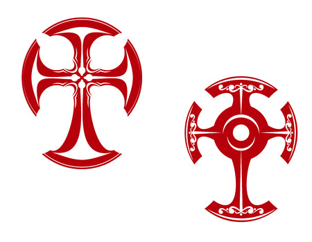 Two stylized crosses with curved ends, one in a Celtic style with floral decoration