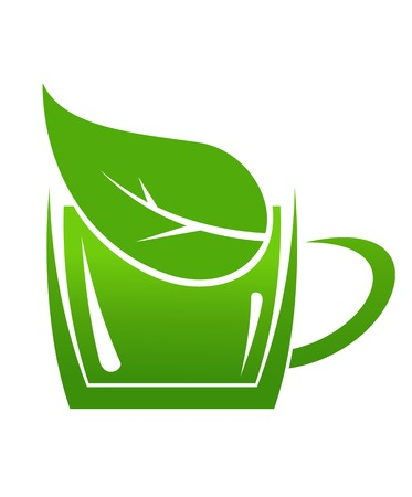 Cup of green bio beverage produced without harm to the environment in a sustainable manner, cartoon illustration of a cup or mug with a leaf in it Vector
