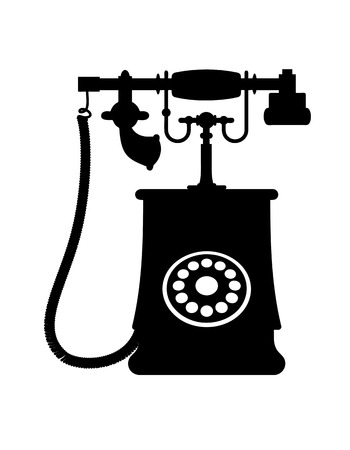 call history: Black and white illustration of a vintage rotary dial telephone with transmitter and receiver, isolated on white background