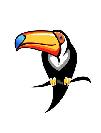 tucan: Cartoon illustration for kids of a colourful toucan with a big orange and blue bill perched on a branch, design element on white