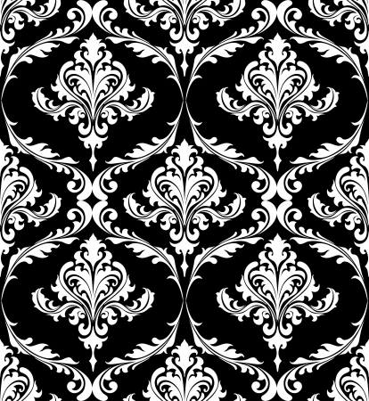 Black and white vintage damask pattern with foliate arabesque elements in a seamless pattern suitable for textile or wallpaper Vector