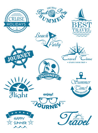 cruise: Collection of travel icons in blue depicting travel, journey, summer, beach party, flights and cruises for use in the tourist industry to promote that unforgettable tropical summer vacation