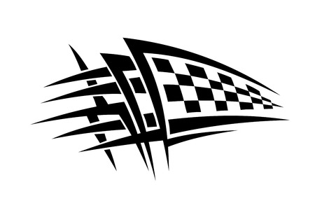 autosport: Racing tattoo with checkered flag Illustration