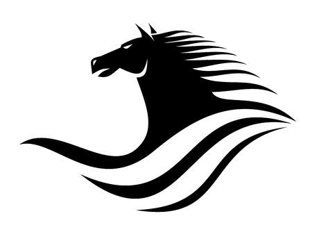 Silueta en blanco y negro de un icono de la cabeza de caballo de perfil dinámico con una melena que fluye Foto de archivo - 25398755
