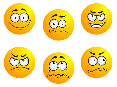 cara triste: Diferentes sonrisas expresiones y estados de ánimo para el diseño de iconos gestuales Vectores