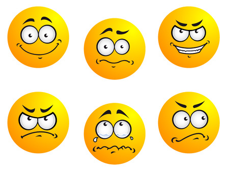 emotions faces: Different smiles expressions and moods for emoticons design