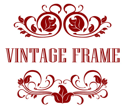 Pretty floral Vintage Frame with flourishes and curlicues in the header and footer with text - Vintage Frame - between in red, illustration