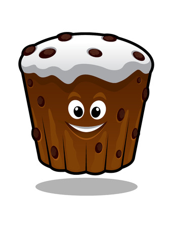 Funny smiling cartoon cupcake for holiday food design Vector