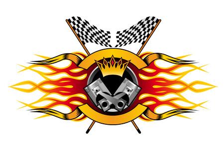 Autosport kampioenschap icoon voor de kampioen met een winnaars kroon en vlammen over een gekruist paar zwart-wit geblokte vlaggen, kleurrijke illustratie