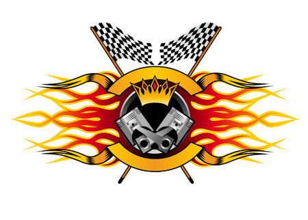 Motor racing championship icon for the champion with a winners crown and flames over a crossed pair of black and white checkered flags, colourful  illustration Illustration