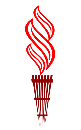 Stylized flaming torch design with a swirling red flame Vector