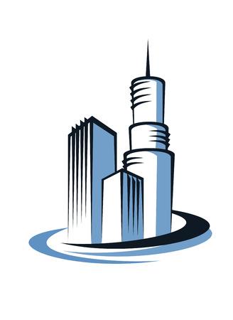 communications tower: Stylized modern city skyline with skyscrapers and a and communications tower