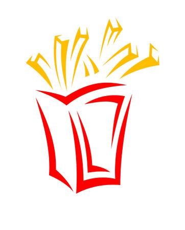 papas fritas: De comida rápida papas fritas en una caja en el estilo de dibujos animados