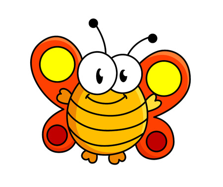 entomology: Funny fat smiling butterfly cartoon illustration Illustration