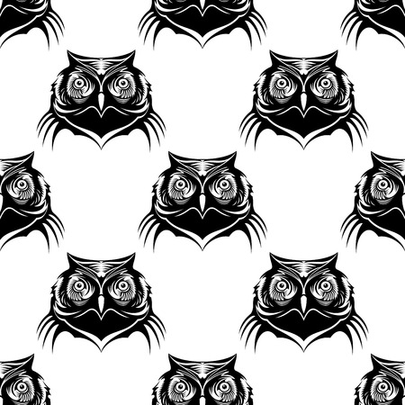 Seamless pattern of an owl head in black and white Vector