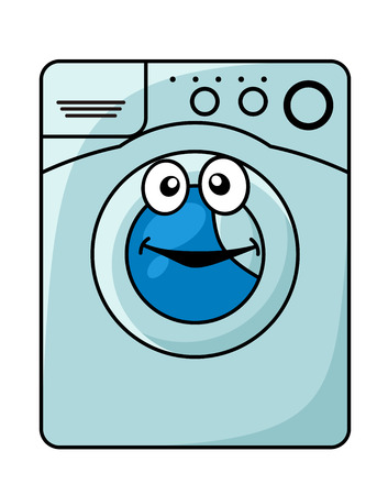 dirty water: Smiling blue washing machine in cartoon style
