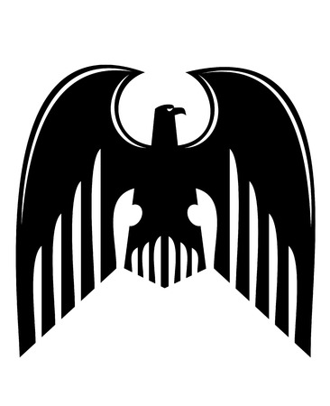 Black heraldic eagle isolated on white  Vector