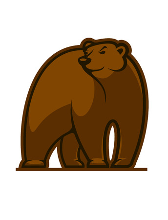 Walking grizzly bear mascot in cartoon style Vector