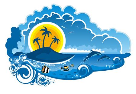 전원시의: 뛰어 dolpins, 물고기 수영, 야자수와 목가적 인 여름 휴가, 만화 그림 햇빛 열 대 섬 낙원