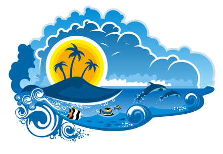 Tropical island paradise with leaping dolpins, fish swimming underwater, palm trees and sunshine for an idyllic summer vacation, cartoon illustration Vector