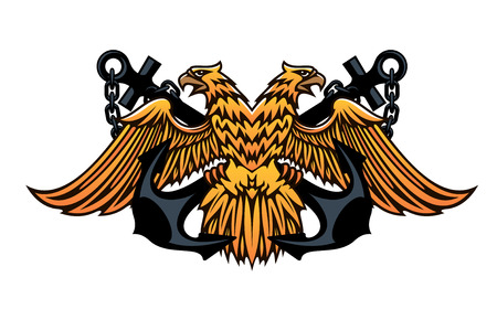 double headed eagle: Maritime or nautical emblem with a double headed eagle with outspread wings over a crossed pair of anchors, cartoon illustration on white