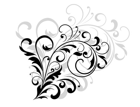 enlarged: Floral design element with swirling leaves as a simple black silhouette with a grey enlarged repeat design behind on white Illustration