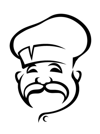 droopy: Black and white doodle sketch of the head of a happy chef with a droopy moustache wearing a white toque
