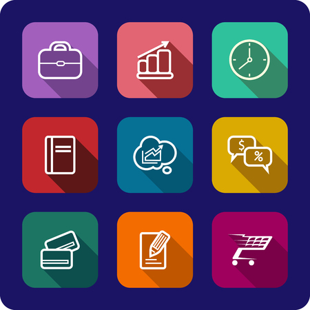 Set of flat rectangular colorful icons with shadows for web design, business presentations, applications, gadgets, cloud computing, media, shopping, on navy blue  Vector