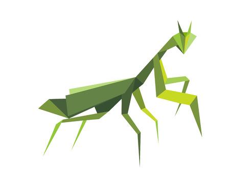 Origami green praying mantis isolated on white