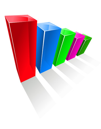 aligned: Business chart with colorful glowing vertical columns, aligned from the highest percentage to the smallest value, on white