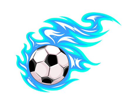 soccer match: Championship soccer ball or football leaving a blue trail as it speeds through the air, cartoon illustration on white