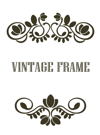 embellishment: Black and calligraphic Vintage frame border elements or header and footer with a swirling floral and foliate pattern Illustration