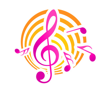 music emblem: Treble clef musical themed icon, over a yellow and pink circular motif with music nots Illustration