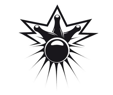 bolos: Ejemplo abstracto negro de una bola de bowling derribando tres pines, símbolo de la diversión y el ocio, aislado en blanco Vectores