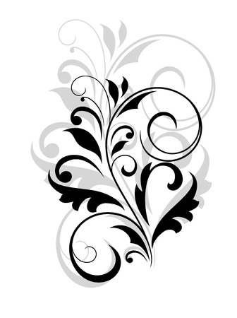 scroll tracery: Floral motif of leaves and swirl flourishes over white