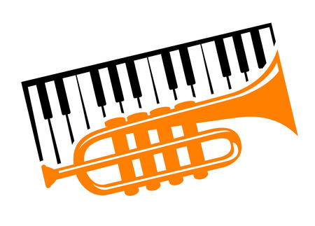 music emblem: Piano keyboard and trumpet for musical design
