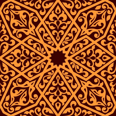 Arabian tile pattern in square format suitable as a seamless repeat pattern or tile in orange and brown, illustration Vector