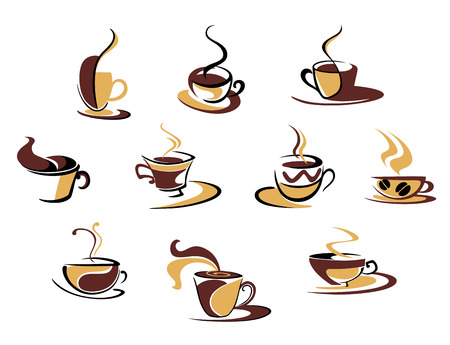 Ten different espresso coffee cups for fast food design Vector