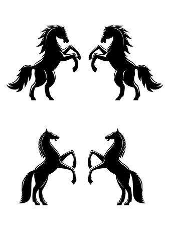 Zwei Aufbäumen Pferden Silhouetten in schwarz für Heraldik Design Standard-Bild - 25399268