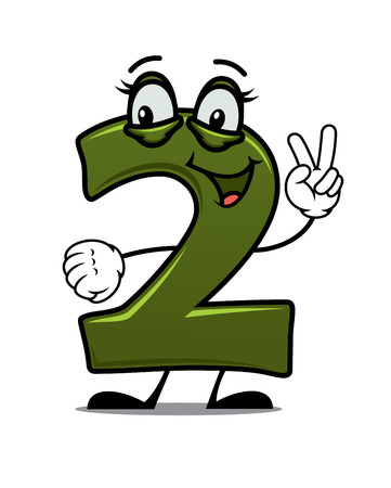 Funny smiling number two in cartoon style