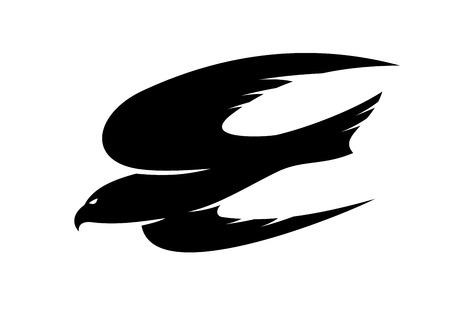 Abstract black illustration of an hawk flying for tattoo or mascot design
