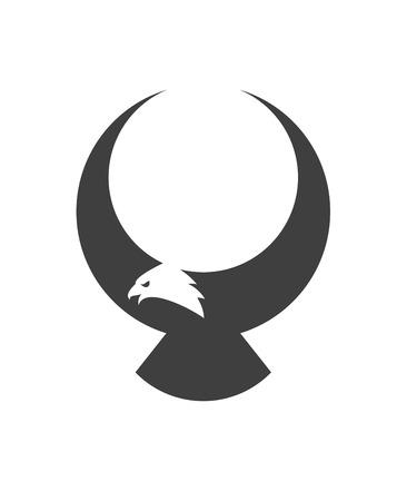 Gestileerde vliegende Amerikaanse adelaar voor mascotte of tattoo ontwerpen Stock Illustratie