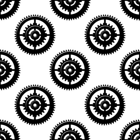 toothed: Black and white seamless pattern of toothed circular motifs or gears in concentric circles in a bold geometric repeat pattern