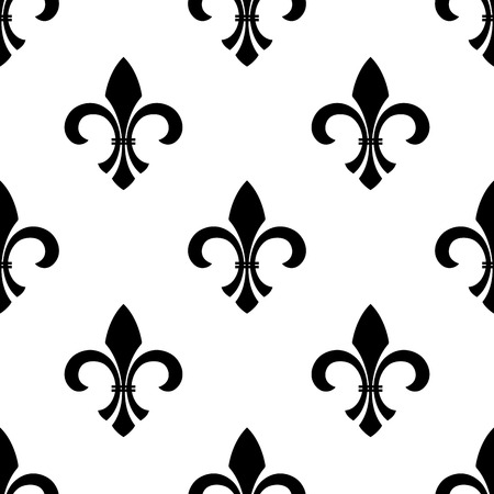 scroll tracery: Seamless of a fleur-de-lys motif in a repeating pattern, in black and white.