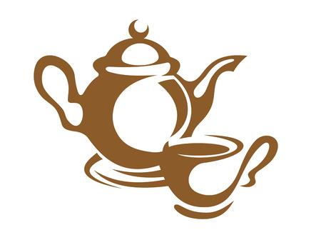 chinese tea cup: Icono simple monoton�a de una tetera y la taza y el platillo en marr�n, m�s de blanco