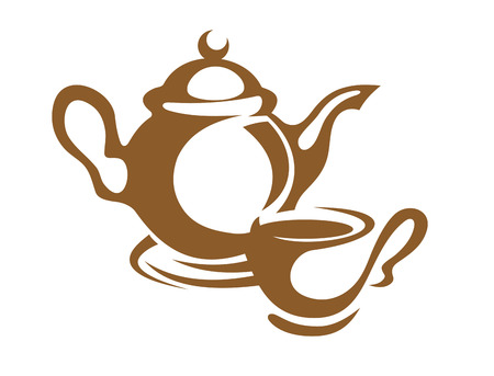 drink tea: Simple monotone icon of a teapot and cup and saucer in brown, over white