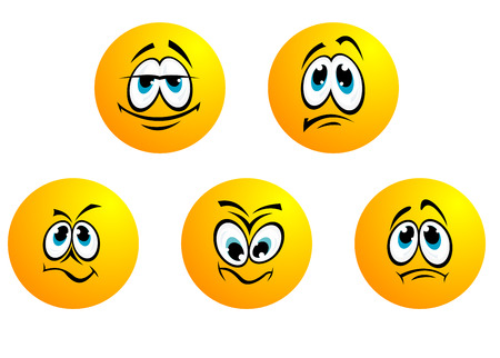 moods: Five different smiles emoticons and moods for design