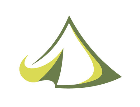 Green tent in the tepee style for travel sports design Vector